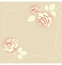 Delicate beige card with roses vector image