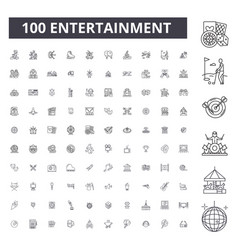 entertainment editable line icons 100 set vector image