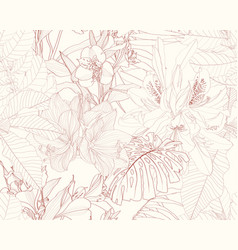Exotic beige brown line tropical leaves and flower vector