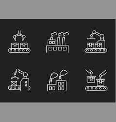 Factory production chalk white icons set on black vector