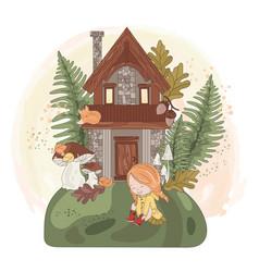 fairy girl house autumn fall nature vector image