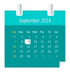 Flat calendar page for September 2014 vector