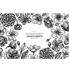 floral design with black and white hibiscus plum vector image