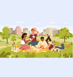 friends people on picnic party in summer city park vector image