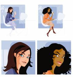 funky office girl vector image