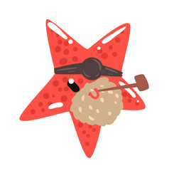 funny cartoon red starfish pirate with an eye vector image