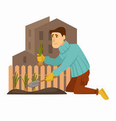 gardening in city man collecting onions harvest vector image
