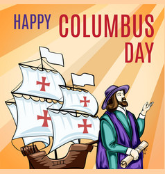 great columbus day concept banner cartoon style vector image