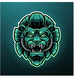 Green lion head mascot logo design vector