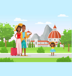 happy family people in vacation mother father vector image
