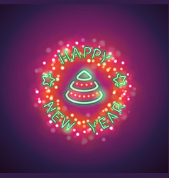 happy new year neon with magic vector image