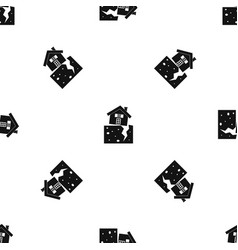 house after an earthquake pattern seamless black vector image
