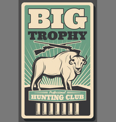 Hunting club retro banner with bison hunter rifle vector