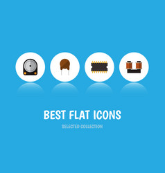 icon flat device set of hard drive spool cpu and vector image