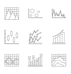 information stand icons set outline style vector image