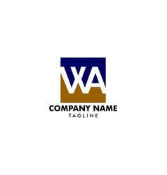 initial letter wa logo template design vector image