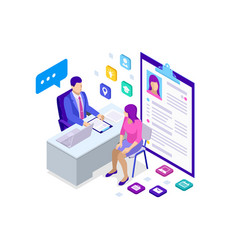 Isometric woman during job interview male office vector