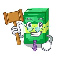 Judge set money in packing bundles cartoon vector