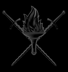 Knightly design flaming torch and two crossed vector