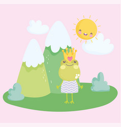 Little frog with crown and dress nature cartoon vector