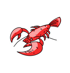 Lobster cartoon hand drawn image vector