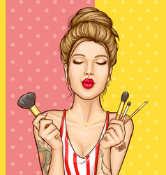 makeup cosmetics ad poster template vector image
