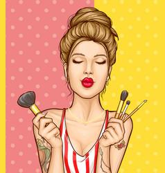 Makeup cosmetics ad poster template vector