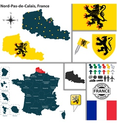 Map of Nord Pas de Calais vector
