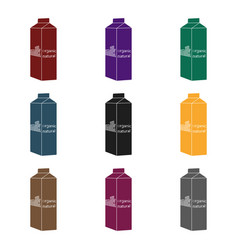 milk gable top carton package icon in black style vector image