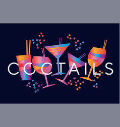 minimal geometric colorful tropical cocktail vector image
