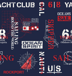 nautical style marine sailing elements wallpaper vector image