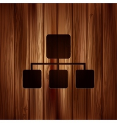 Network icon Wooden texture vector
