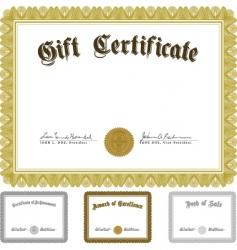 Ornate award certificate set vector