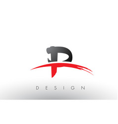 P brush logo letters with red and black swoosh vector