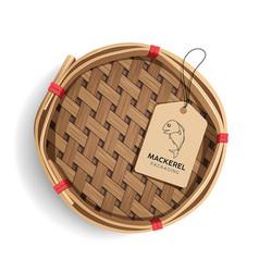 Packaging mackerel basket product realistic vector
