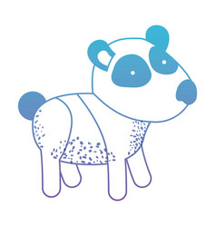 Panda cartoon in degraded blue to purple color vector