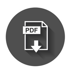Pdf file download icon flat with long shadow vector