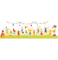 people jumping at birthday party celebration vector image