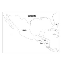 Political map of central america and mexico in vector