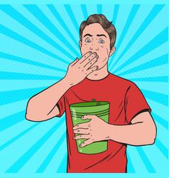 Pop art vomiting man sick guy throw up vector