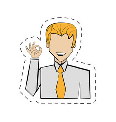 Portrait man hand ok cartoon vector