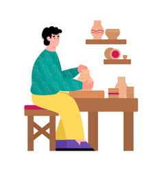 Pottery master making ceramic earthenware cartoon vector