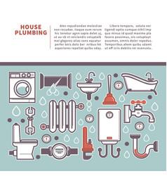Professional house plumbing homepage vector
