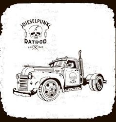 Rat rod truck diesel punk vector