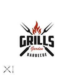 Retro vintage grill with crossed fork and fire vector