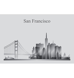 San Francisco city skyline silhouette in grayscale vector