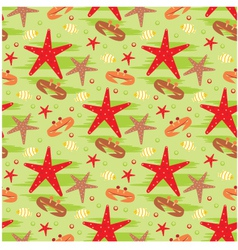 Seamless crabs and starfishes pattern vector image