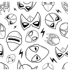 Seamless pattern of super hero masks in linear vector