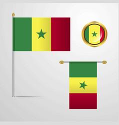 Senegal waving flag design with badge vector