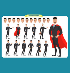 Set businessmen presenting in various action vector
